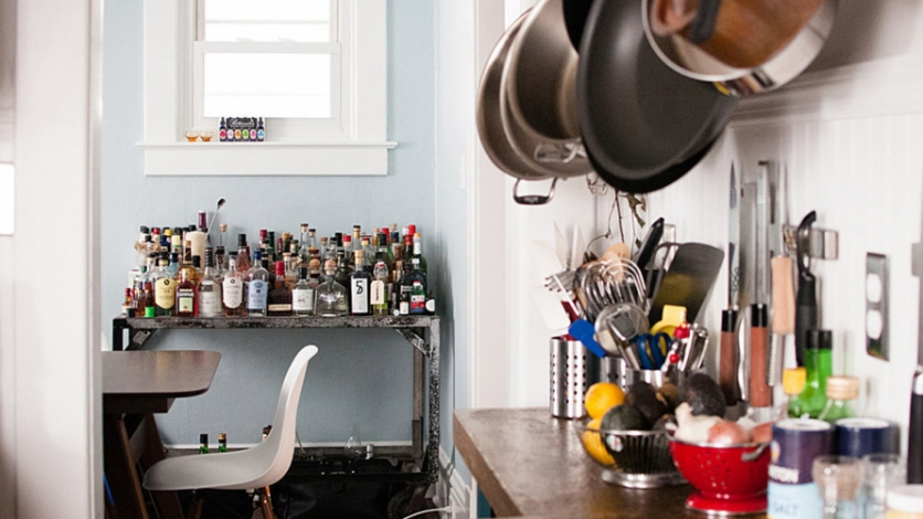 A well-stocked liquor bar reflects the Pierce's propensity for creative traveling, eating and drinking.