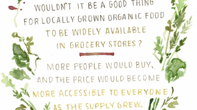 locally grown organic foods available in grocery stores graphic