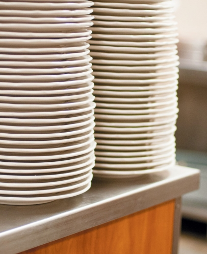 plates in cafeteria