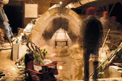 firing pots in the kiln