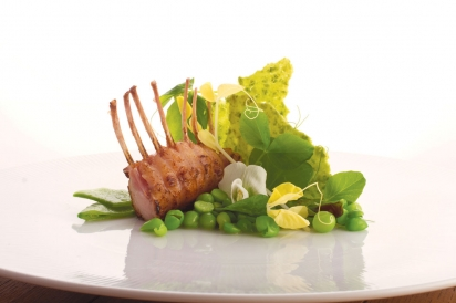 Rack of Rabbit. Pea Cracker. Beurre Fondue. Split Peas. Micro Gold Pea Tendril. Micro Green Pea Tendril. Snow Pea. Pea Bloom