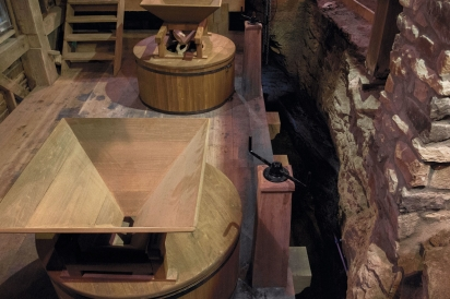 The milling floor and the two sets of milling stones.