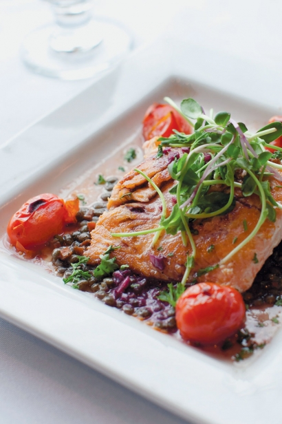 Seared Salmon on French Lentils with Cabernet Shallot Butter and Blistered Tomatoes at Shaw's.