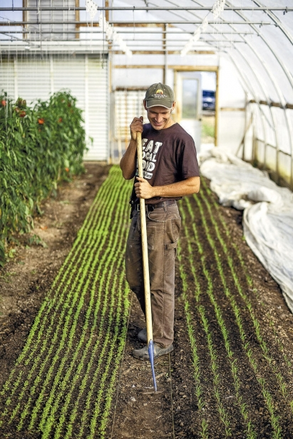gardener hoeing plants inside greenhouse