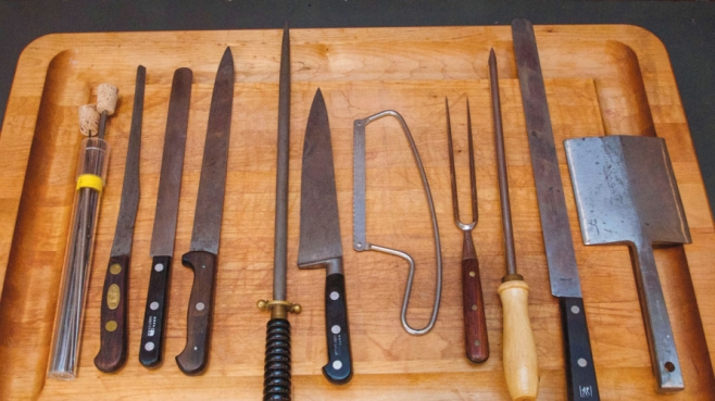 Bill Maratta's knife collection and wooden cutting board