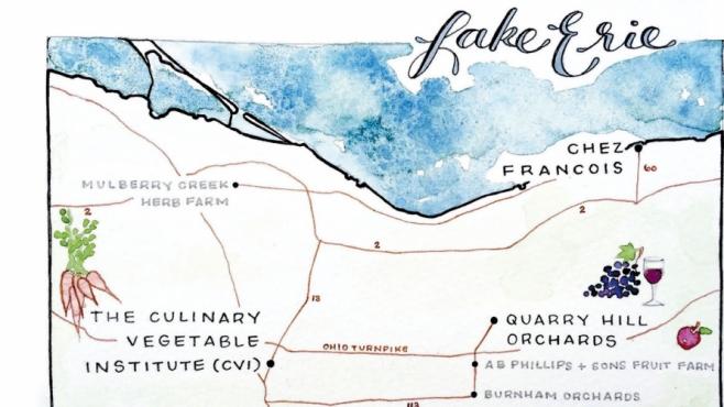 Lake erie, ohio map of shore