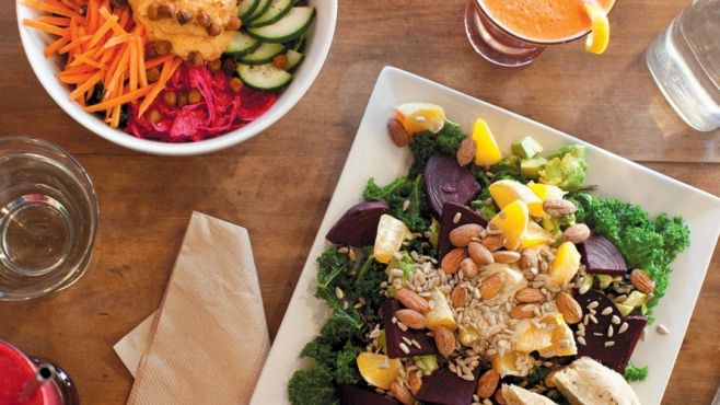 Lunch at The Well in Lancaster, Ohio, with Blood Builder Juice, Nourishing Bowl and Zesty Beet Orange Kale Salad.