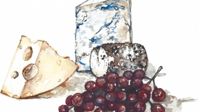 illustration of cheese and grapes