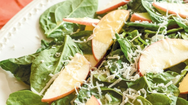 Warm Spinach Salad with Maple Vinaigrette